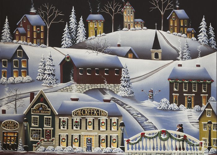 Art Greeting Card featuring the painting Christmas In Fox Creek Village by Catherine Holman