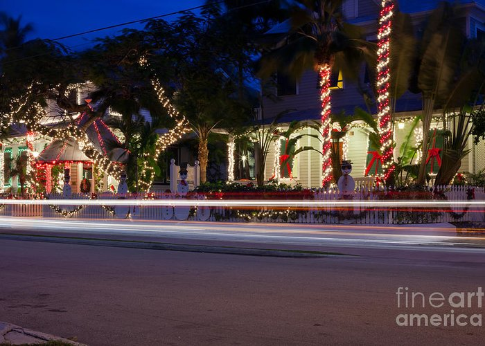Christmas Lights Greeting Card featuring the photograph Christmas In Key West by Anthony Morgan