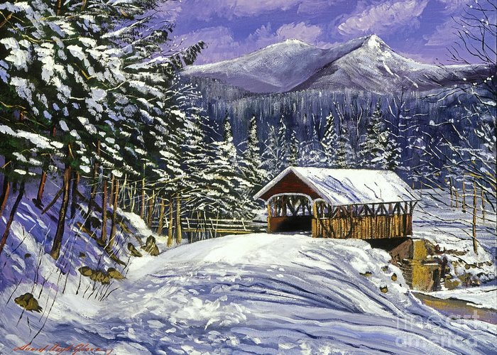 Landscape Greeting Card featuring the painting Christmas In New England by David Lloyd Glover
