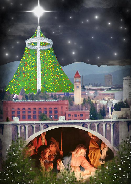Christmas Greeting Card featuring the digital art Christmas In Spokane by Mark Armstrong