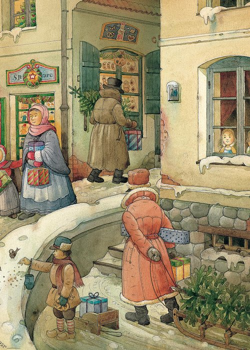 Christmas Greeting Cards Season Winter Snow Holiday Greeting Card featuring the painting Christmas In The Town by Kestutis Kasparavicius