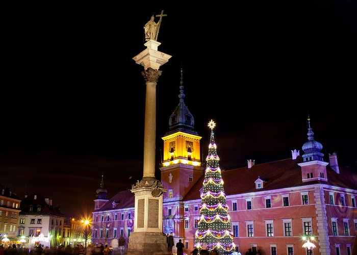 Architecture Greeting Card featuring the photograph Christmas In Warsaw by Artur Bogacki