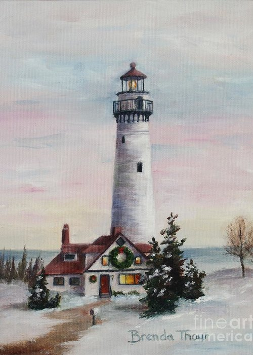 Lighthouse Greeting Card featuring the painting Christmas Light by Brenda Thour