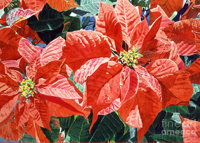 Christmas Greeting Card featuring the painting Christmas Poinsettia Magic by David Lloyd Glover