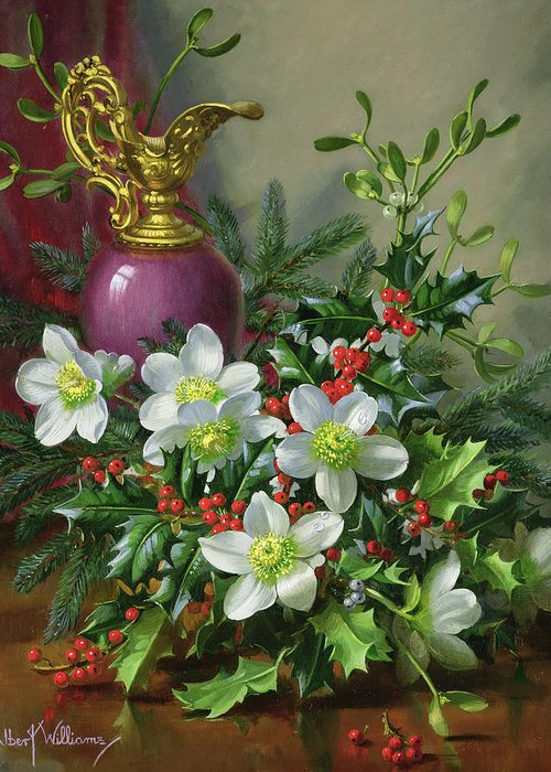 Christmas Greeting Card featuring the painting Christmas Roses by Albert Williams