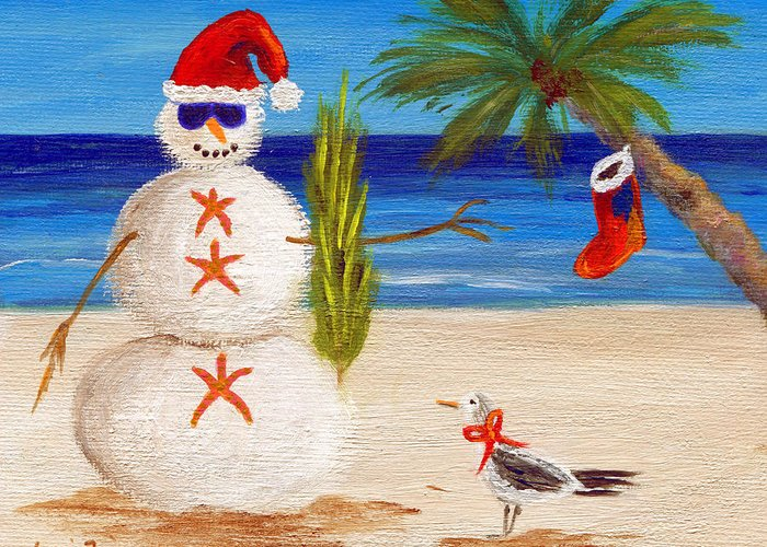 Christmas Greeting Card featuring the painting Christmas Sandman by Jamie Frier