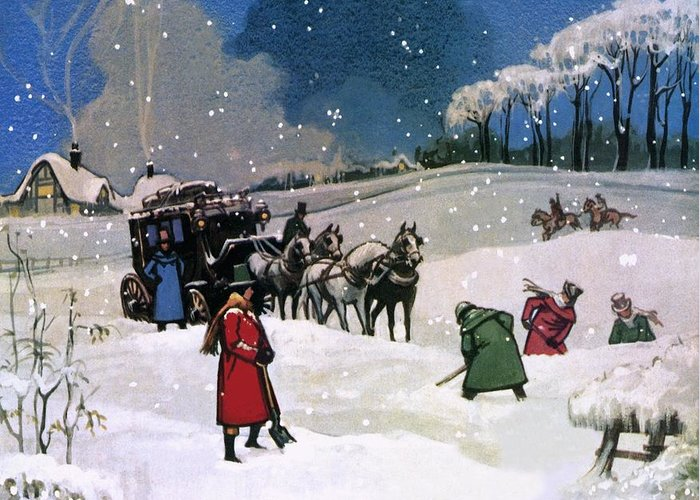 Christmas Scene Greeting Card featuring the painting Christmas Scene by English School