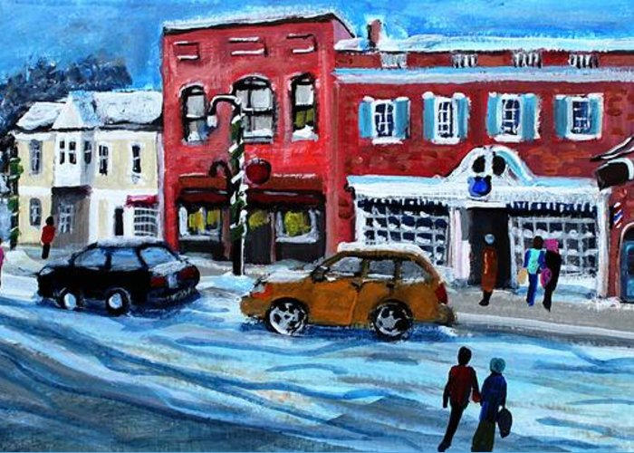Landscape Greeting Card featuring the painting Christmas Shopping In Concord Center by Rita Brown