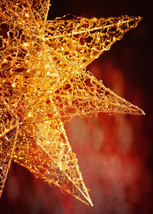 Christmas Greeting Card featuring the photograph Christmas Star In Red by Ken Gehring