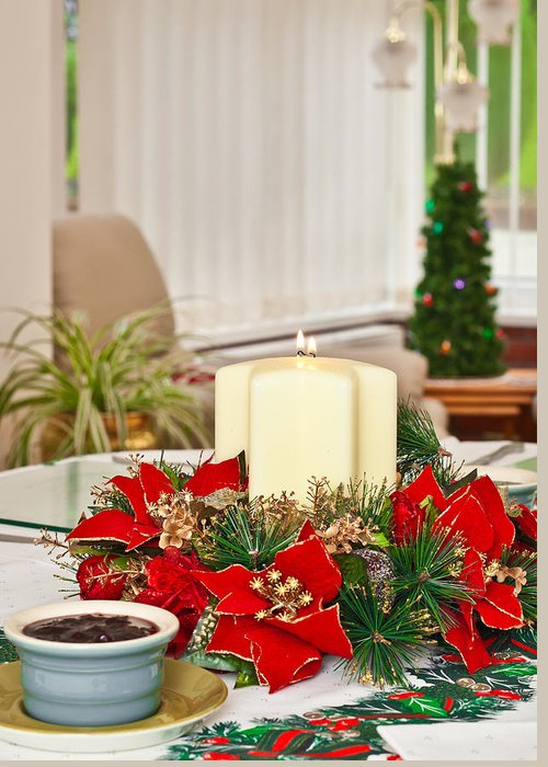 Berry Greeting Card featuring the photograph Christmas Table by Tom Gowanlock