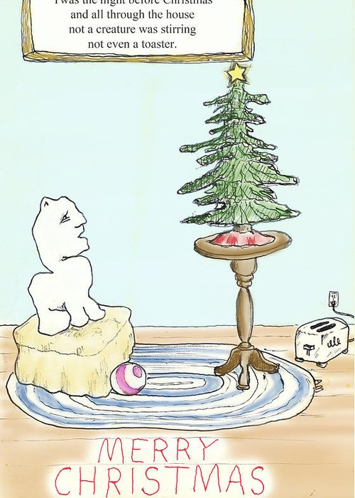 Toaster Greeting Card featuring the drawing Christmas Toaster by Alan McCormick