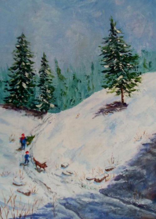 Snow Greeting Card featuring the painting Christmas Tree Harvest by Joan Mace