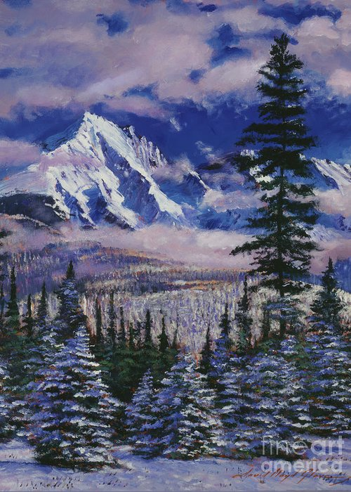 Snow Greeting Card featuring the painting Christmas Tree Land by David Lloyd Glover
