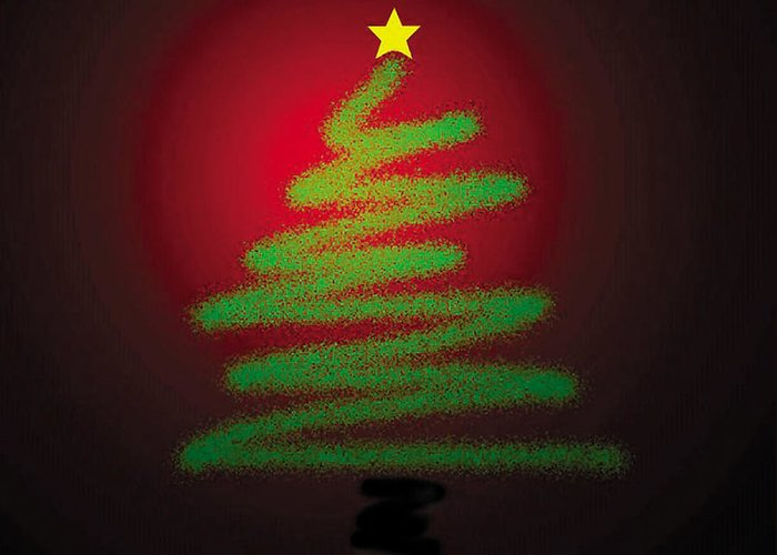 Christmas Greeting Card featuring the digital art Christmas Tree With Star by Genevieve Esson
