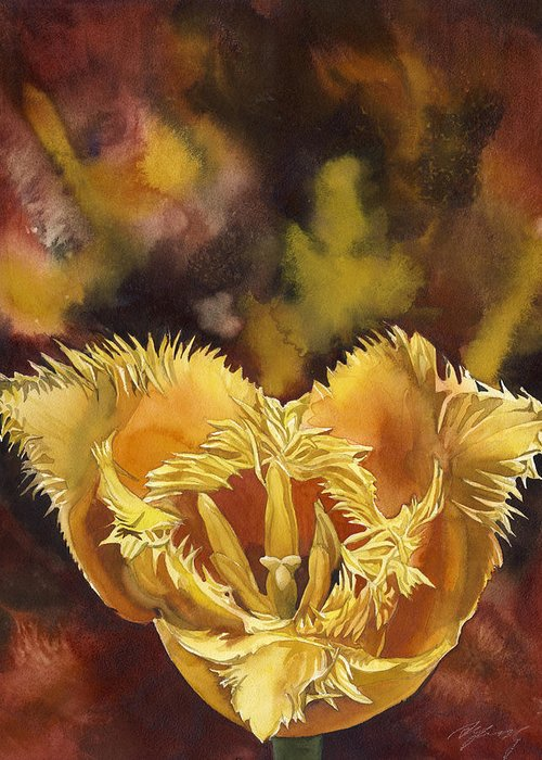 Flower Greeting Card featuring the painting Christmas Tulip by Alfred Ng