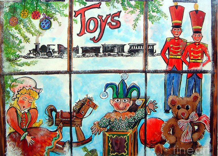 Christmas Greeting Card featuring the painting Christmas Window by Linda Shackelford