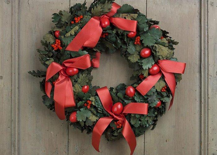 Advent Greeting Card featuring the photograph Christmas Wreath by Bernard Jaubert