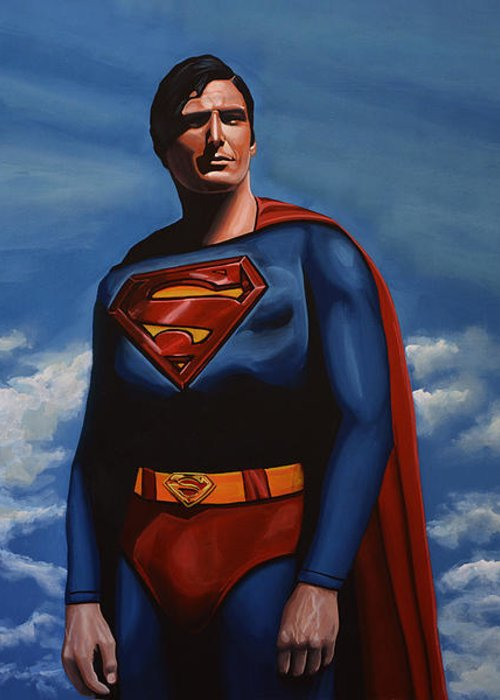 Superman Greeting Card featuring the painting Christopher Reeve As Superman by Paul Meijering