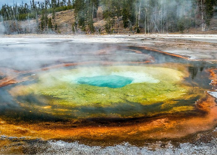 Chromatic Pool Greeting Card featuring the photograph Chromatic Pool Yellowstone by Pierre Leclerc Photography