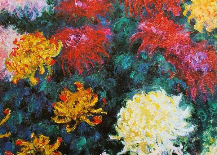 Pd Greeting Card featuring the painting Chrysanthemums by Pg Reproductions