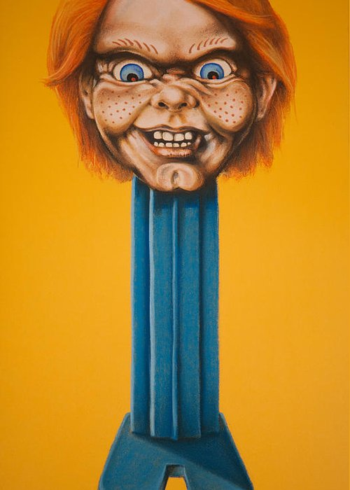 Chucky Greeting Card featuring the pastel Chucky by Brent Andrew Doty