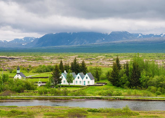 Iceland Greeting Card featuring the photograph Church And Buildings National Park Pingvellir Iceland by Matthias Hauser