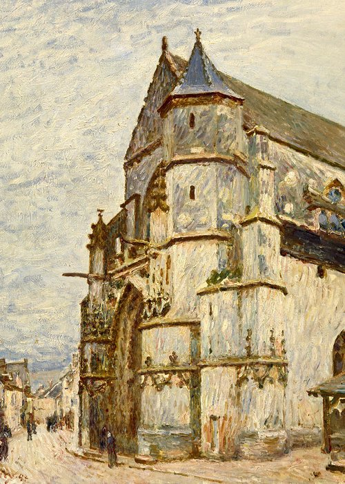 Church Greeting Card featuring the painting Church At Moret After The Rain by Alfred Sisley