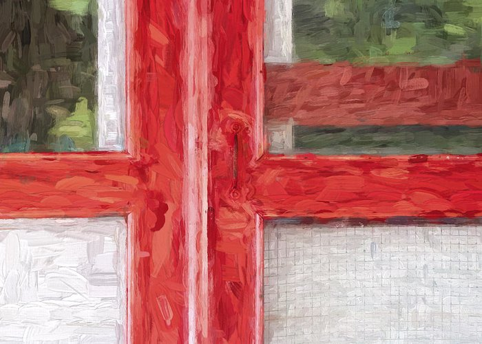 Red Greeting Card featuring the photograph Church Camp House Detail Painterly Series 11 by Carol Leigh