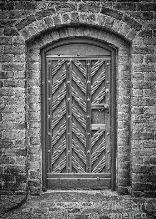 Monochromatic Greeting Card featuring the photograph Church Door 02 by Antony McAulay