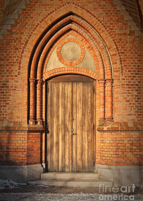Entrance Greeting Card featuring the photograph Church Door Helsingborg by Antony McAulay