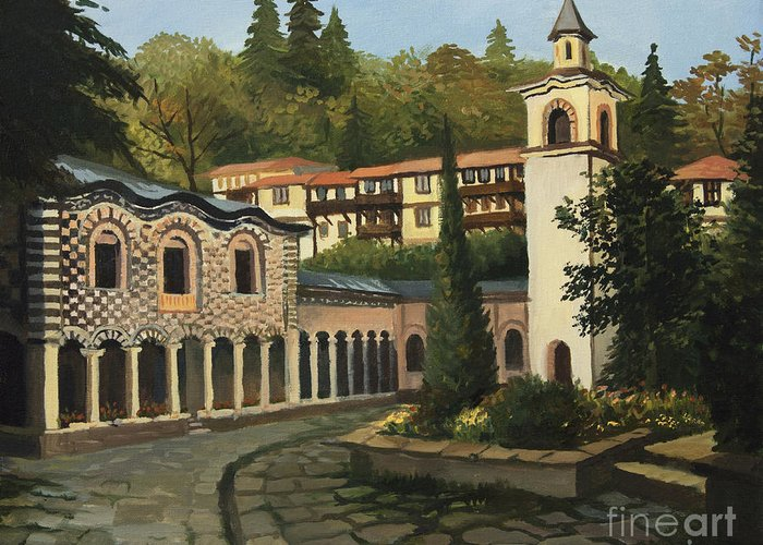 Arch Greeting Card featuring the painting Church In Blagoevgrad by Kiril Stanchev