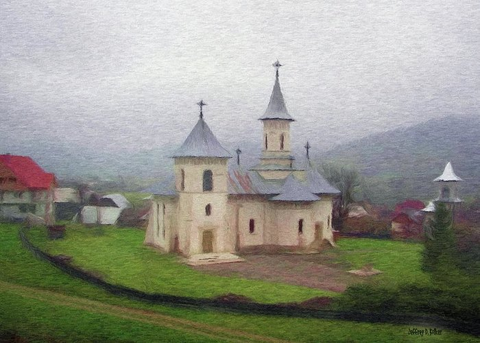 Chapel Greeting Card featuring the painting Church In The Mist by Jeff Kolker