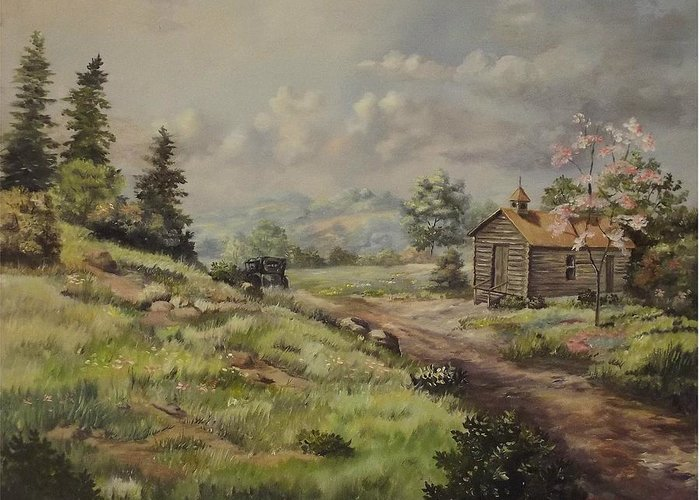 Landscape Greeting Card featuring the painting Church In The Ozarks by Wanda Dansereau
