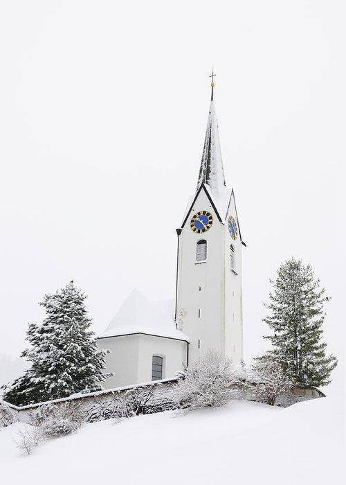 Church Greeting Card featuring the photograph Church In Winter by Matthias Hauser