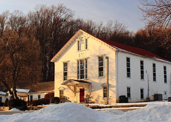 Church Greeting Card featuring the photograph Church In Winter Sunset by Stephen Hobbs