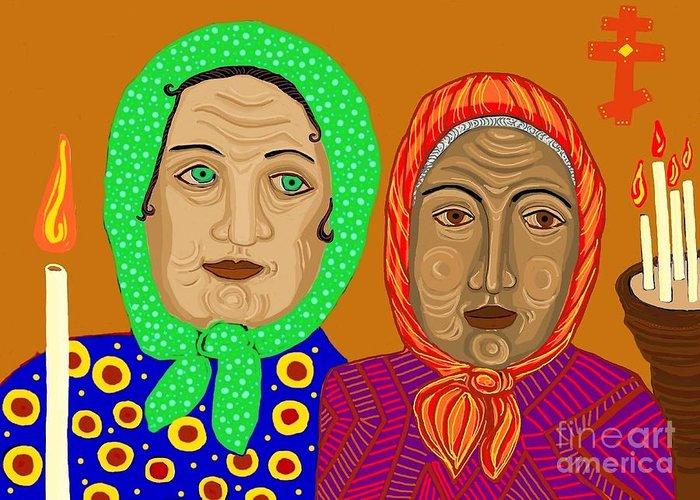 Church Ladies Greeting Card featuring the digital art Church Ladies by Sarah Loft