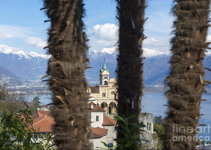Church Greeting Card featuring the photograph Church Madonna Del Sasso by Mats Silvan