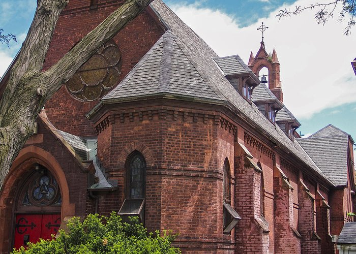 Old Brick Church Greeting Card featuring the photograph Church Red Door by Eric Swan