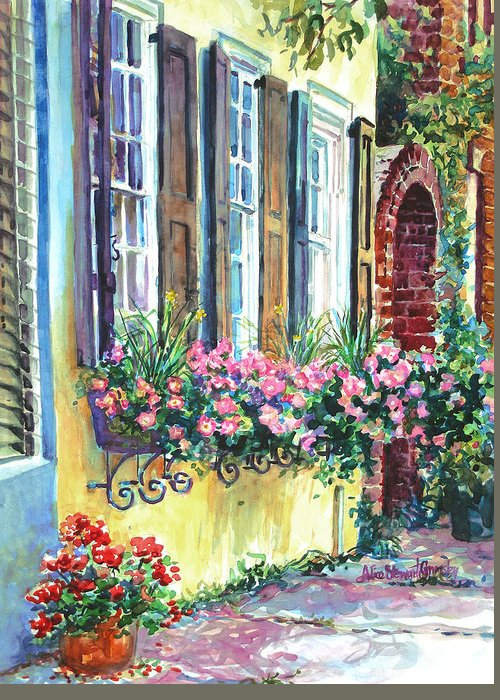 Charleston Greeting Card featuring the painting Church Street Textures by Alice Grimsley