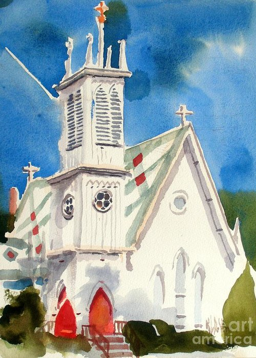 Church Greeting Card featuring the painting Church With Jet Contrail by Kip DeVore