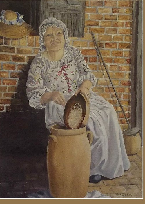 Historic Greeting Card featuring the painting Churning Butter by Wanda Dansereau