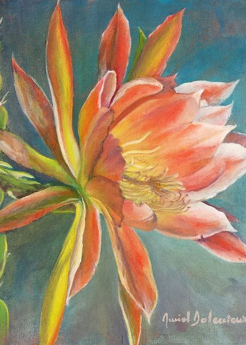 Acrylic Greeting Card featuring the painting Cierge en Fleur by Muriel Dolemieux