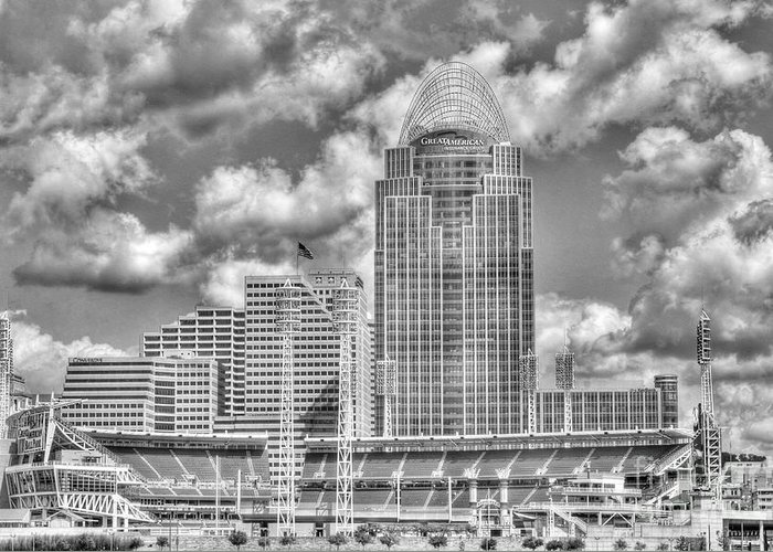 Cincinnati Greeting Card featuring the photograph Cincinnati Ballpark Clouds Bw by Mel Steinhauer