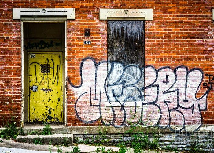 109 Greeting Card featuring the photograph Cincinnati Glencoe Auburn Place Graffiti Picture by Paul Velgos