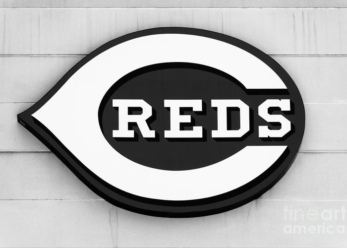 America Greeting Card featuring the photograph Cincinnati Reds Sign Black And White Picture by Paul Velgos
