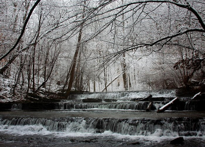 Water Greeting Card featuring the photograph Cinderella Falls In Winter by Rachel Hallmark