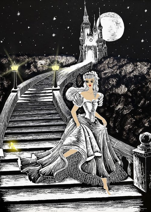 Art Greeting Card featuring the painting Cinderella by Svetlana Sewell