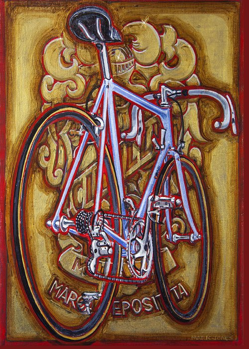 Cinelli Greeting Card featuring the painting Cinelli Laser Bicycle by Mark Jones