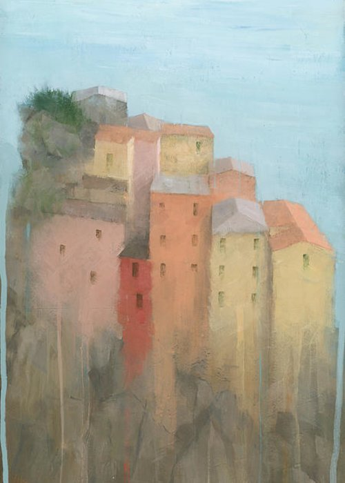 Art Greeting Card featuring the painting Cinque Terre by Steve Mitchell