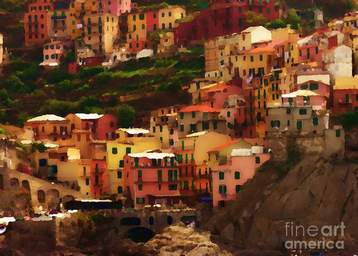 Cinque Terre Greeting Card featuring the photograph Cinque Terre - Manarola - Abstract by Jacqueline M Lewis